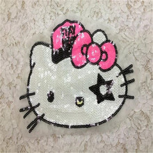 Sequins 28cm Hello Kitty patches for clothing bomber jacket, blusas, blouse, women basic coats, dress, skirt, crop top, robe