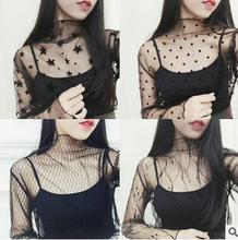 RenYvtil Embroidery Long Sleeve Sexy See Through Fishnet Neartime Lace Black Fashion Womens Mesh Tops Casual grid Sheer T-Shirt