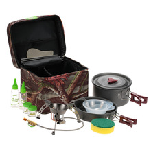 BRS Outdoor Camping Hiking Backpacking Picnic Cookware Cooking Tool Set Pot Pan + Split Gas Stove Furnace Cookware Camping Stove(China)
