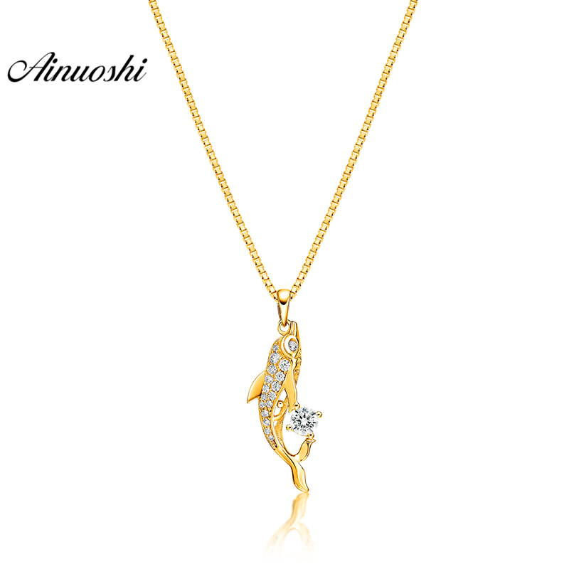 AINUOSHI 10K Solid Yellow Gold Pendant Playing Fish Pendant SONA Diamond Women Men Children Gold Jewelry 2g Separate Pendant