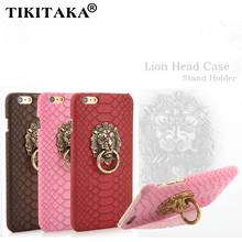 Luxury Snake Lizard Texture Leather Skin Hard Back Cover For Iphone 6 6S 6 Plus Retro Lion Head Lionhead hoop Stand Holder Case(China)