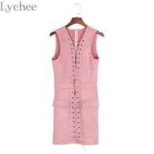 Buy Lychee Elegant Sexy Summer Women Dress Lace Suede Leather Bandage Dress Sleeveless Bodycon Party Dress for $24.02 in AliExpress store