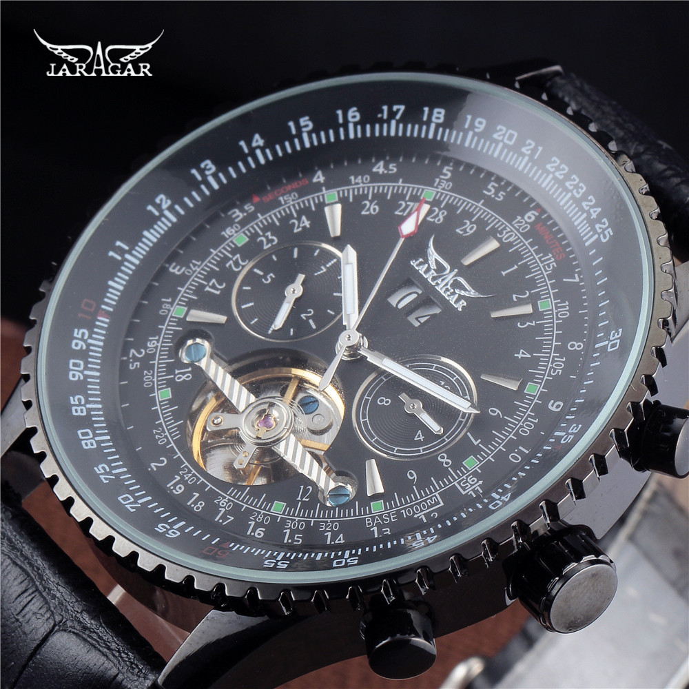 JARAGAR Brand Luxury Big Dial 5 Hands Auto Black Mechanical Watches month/Day/Week Leather Mens WristWatches Gift Men Clock<br>