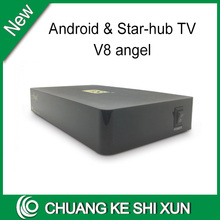 Singapore best starhub cable tv box V8 Angel DVB-S2+T2+Cable+android for sport channels VS A8 plus(China)