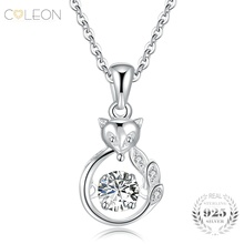 Coleon Cute Fox Dancing Zircon Pendant Fine Long Chain Necklace 925 Sterling Silver Fine Necklace Women Girls Party Gift Jewelry(China)