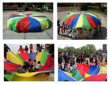 Free Shipping 2m 78' Child Kid Sports Development Outdoor Rainbow Umbrella Parachute Toy Jump-sack Ballute Play Parachute