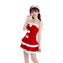Beautiful cheap Imported China Women Sexy Santa Christmas Costume Fancy Dress Xmas Office Party Outfit off shoulder vestido(China)