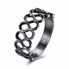 2017 Wholesale New Unisex Rings Silver Color Elegant Round Shape Fashion Hollow Out Number Eight Ring Party Gift Jewelry