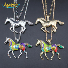 "Hapiship 2017 New Fashion Women Jewelry Silver/Gold Tone Jewelry Running Horse Pendant 27"" Necklace Wholesale Free Shipping EA62"