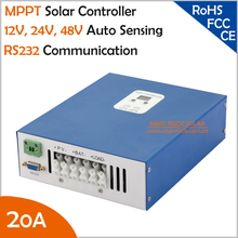 Ecnomical 20A 12V/24V/48V automatic recognition MPPT solar charge controller with RS232 communication port, Max. PV Input 100VDC