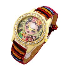 Top Ethnic Watch Women Frida Pets PU Leather woman wristwatch casual dress accessories Geneva Style school student(China)