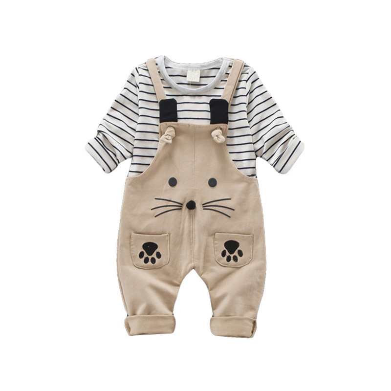 Super Handsome Children Autumn Winter Suits Baby Boys&amp;Girls T-shirt + braces Pants 2 pcs Clothing Set Cartoon Kids ClothingB0329<br>
