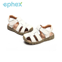Ephex Children Casual Shoes Boys Soft Leather Sandals Baby Toe Cap Covering Boy PU Leather Solid Sandals Kids Sneakers Flats