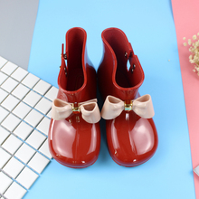 2017 New Cute Bow Girls Rain Boots for Baby Toddler Little Girls Boys Boots Waterproof Child Rubber Boots Jelly Water Shoes
