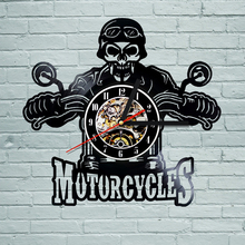 1Piece Motorcycles Bikers Classic King Skull Vinyl LP Record Wall Clock Decor Boys Men Art Gift Creative Hanging Watches