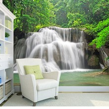 Custom natural landscape Wallcoverings. Waterfalls, 3D Photo Mural for Living Room Bedroom Dining Room Backdrop Wallpaper(China)