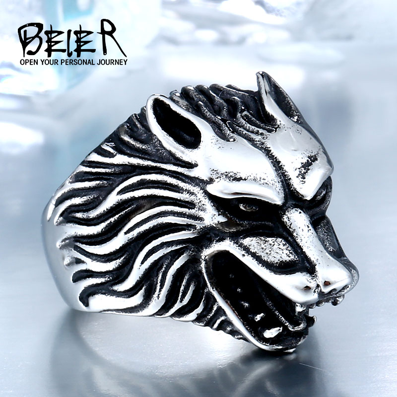 BEIER 2017 Dropshipping Cool stainless steel 3D Game Throne House Stark Winterfell Wolf Man Ring christmas Jewelry BR8-075