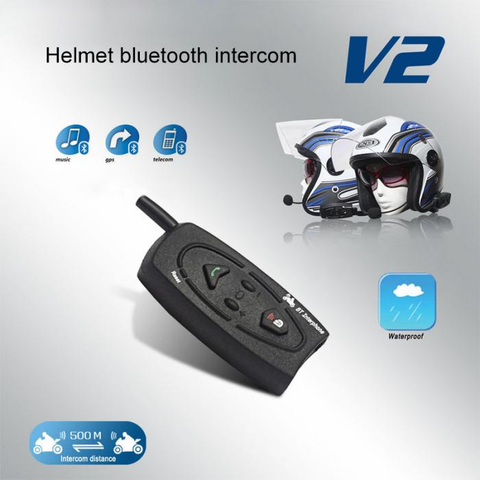 VNETPHONE V2-500 Bluetooth Motorcycle Helmet Intercom 500M Interphone 2Riders Walkie Talkie For Skiing Snowobile Cycling CSL2017