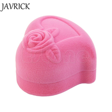 JAVRICK Velvet Pink Rose Heart Shaped Ring Earring Display Jewelry Box Gift Storage Case ZB380(China)