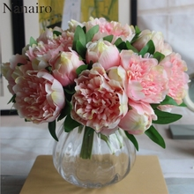 Big size 5 Heads European Peony Flower Bouquet Artificial Silk Flower Rose Bouquet Wedding Home Party Decoration Fake Flower(China)