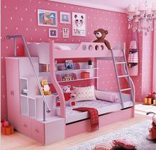 Modern Home Furniture Wooden Bunk Bed Young Girls Bed beliche New Energetic Color Double Bed with Trailer Bed
