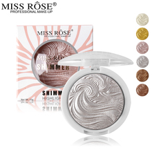 Miss Rose 3D Shimmer Powder Highlighter Palette Face Base Illuminator Makeup Bronzers Highlight Contour Silver Golden(China)