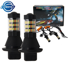 Dual Color 1156 BA15S/BAU15S T20 7440 LED Bulbs Front Turning Lights DRL 60SMD 5730 White Amber/ice bule fog Error Free Canbus(China)