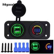 Mgoodoo USB Socket Splitter Led Digital Voltmeter 4.2A DC 12-24V Dual USB Port Charger 2 Hole Panel Power Socket Car Electronics
