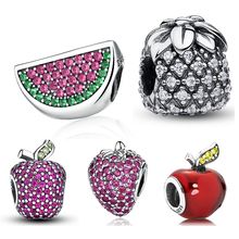 Fruit Charm Strawberry Watermelon Apple Pineapple Pave Crystal CZ 925 Sterling Silver Charm Fit Pandora Bracelet Jewelry Making(China)