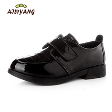 Boys Formal Leather Shoes Kids Performance Black White Shoes Children Casual Hook Leather Shoes C154(China)