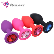 Buy Small Medium Large Safe Silicone Butt Plug Crystal Jewelry Anal Plug Vaginal Plug Vibrator Anal Toys Woman & Men