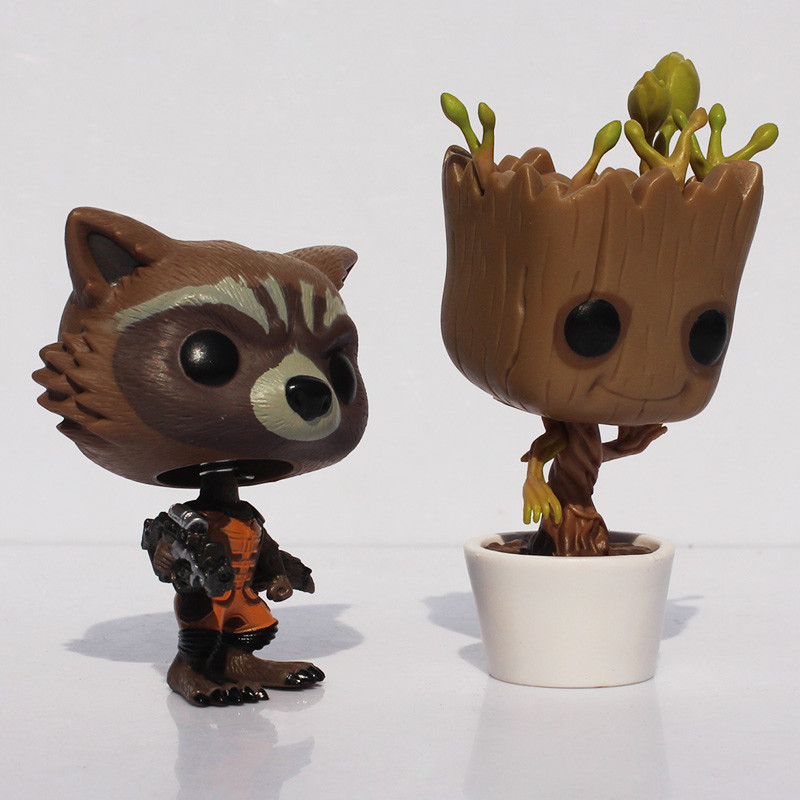 New Funko POP Guardians of the Galaxy Tree People Groot &amp; Rocket Raccoon PVC Figure Dolls With Box 8-10cm<br><br>Aliexpress