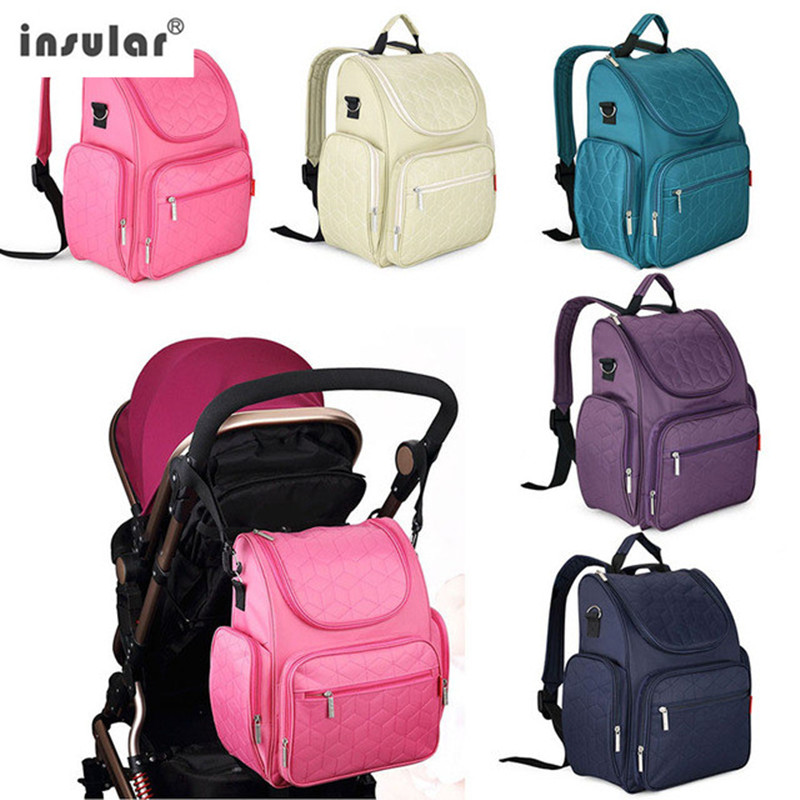 INSULAR Baby Diaper Bag Solid Canvas Mummy Bag baby Stroller Bags Waterproof Bag Large-capacity Nappy Change Maternity Backpack<br>