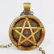 New Fashion Dome Necklace Chain Choke Hot Sale Gold Pentagram Weaving Patterns Pendant Jewelry LY47