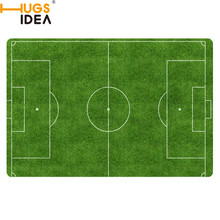 HUGSIDEA Custom Football Carpet Slip-resistant Rugs Bedroom Floor Mat Doormat Green Court Desgin Funny Rugs Go Away Cat Rugs