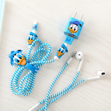 Cartoon USB Cable protector Set Bobbin winder Data Line Case Rope Protection Spring twine For Iphone5 6 6plus earphone Cover(China)