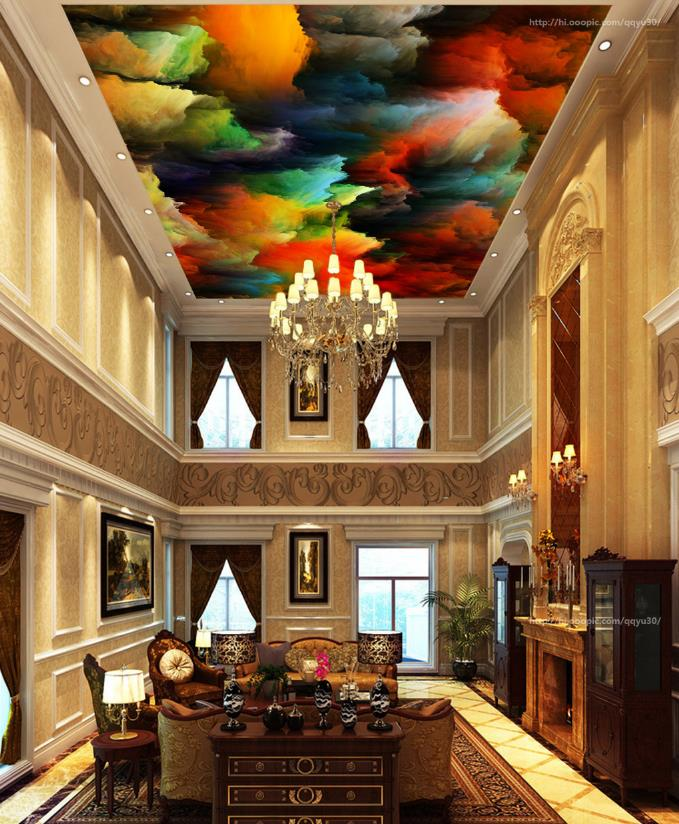 Photo Wallpaper Abstract Colored clouds 3d Ceiling Wallpapers For Living Room<br>