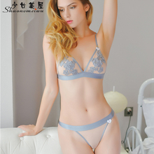Buy Shaonvmeiwu 2018 new steel ring ultra-thin bra suit sexy embroidery transparent temptation underwear suits bras