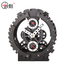 MIAO KE 2017 New Arrival Fashion Creative Large Gear Wall Clock Mechanical Gear Mute Wall Quartz Clock Home Decor(China)