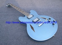 Blue hollow body jazz electric guitar musical instrument, chrome parts,no poickguard ,diamond hole ,own logo way!(China)