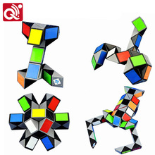 Qiyi 3D Colorful Magic Ruler 24/36/48/72 Segments Twist Snake Cube Puzzle educational Toys Kid for Children(China)