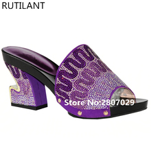 Larges Size Shoes Women Open Toe Sexy Ladies Shoes Party Wedding Shoe African Dresses for Women Fashion Purple Color Women Pumps(China)