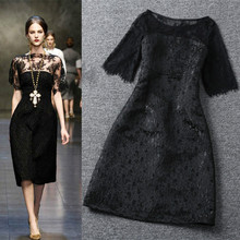 2016 Black Lace Sexy Women Dress The Same Paragraph Lace Embossed Star Paragraph Short-Sleeved Knee-Length Women Dress