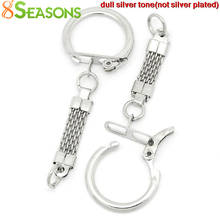 8SEASONS Key Chains & Key Rings Silver Tone Color 6.2cm x 2.3cm,30PCs,KeyChains Length:3.8cm (B27327)