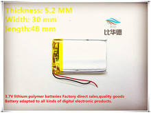 (free shipping)3.7V Battery 523048 800mah lithium-ion polymer battery quality goods of CE FCC ROHS certification authority