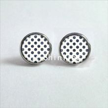 NES-0048  Polka Dot Earrings Colorful Dots Stud Earring Pink Polka Dots Glass Dome Earrings For Women