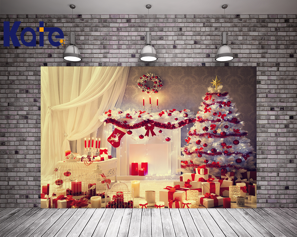 Kate Christmas Trees Photography Backdrops Happy New Year Custom Backdrop With White Window Curtains Gift Washable Background<br>
