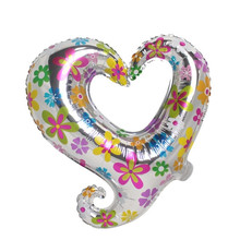 QGQYGAVJ Free shipping new children's toys, aluminum balloons birthday party valentine heart i love you balloon wholesale(China)