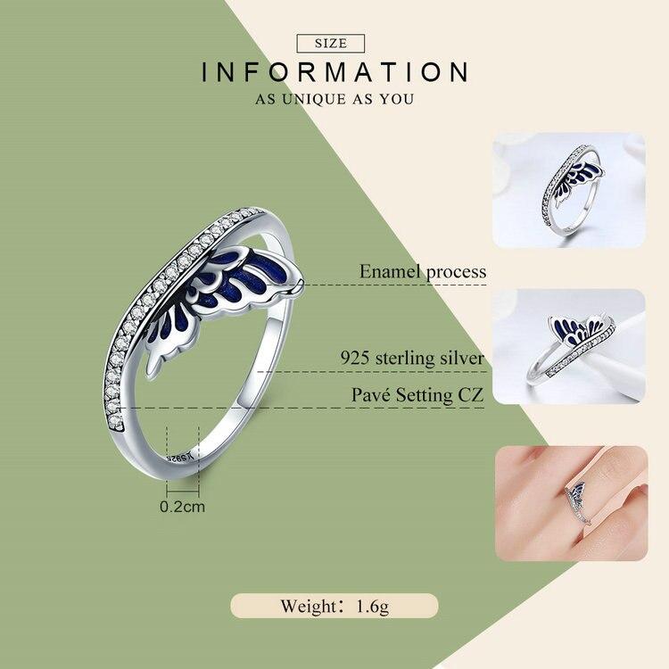 خاتم جناح الفراشة للسيدات فضة S925 3