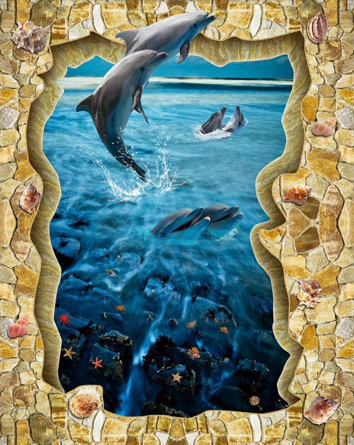 vinyl 3d flooring waterproof Aegean Sea Dolphin Love wallpape 3d floor painting 3D stereoscopic photo wallpaper<br><br>Aliexpress
